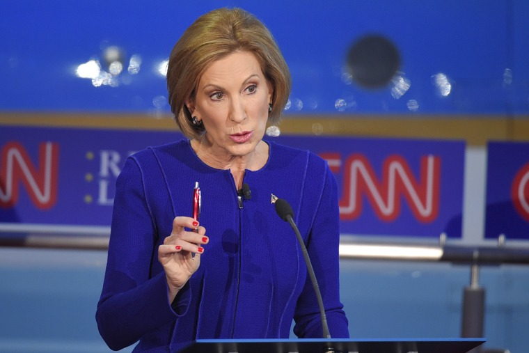 Republican presidential candidate, businesswoman Carly Fiorina, makes a point during the CNN Republican presidential debate at the Ronald Reagan Presidential Library and Museum on Sept. 16, 2015, in Simi Valley, Calif. (Photo by Mark J. Terrill/AP)