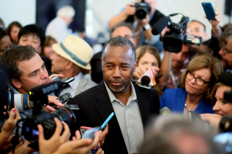 Republican candidate Dr. Ben Carson speaks to reporters before the start of the Republican Presidential Debates at the Reagan Library on Sept. 16, 2015 in Simi Valley, Calif. (Photo by Sandy Huffaker/Getty)