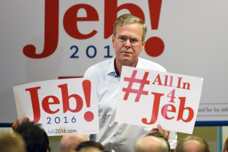 Republican presidential candidate Jeb Bush speaks during a campaign rally at the Veterans Memorial Leisure Services Center on Sept. 17, 2015 in Las Vegas, Nev. (Photo by Ethan Miller/Getty)