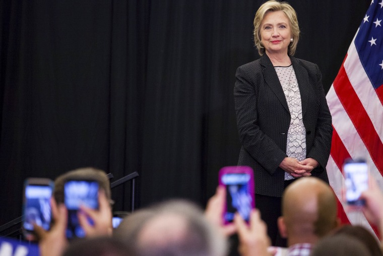 """Democratic presidential candidate Hillary Clinton looks into the crowd before she speaks at a """"Women for Hillary"""" meeting in Milwaukee, Wis., Sept. 10, 2015. (Photo by Darren Hauck/Reuters)"""