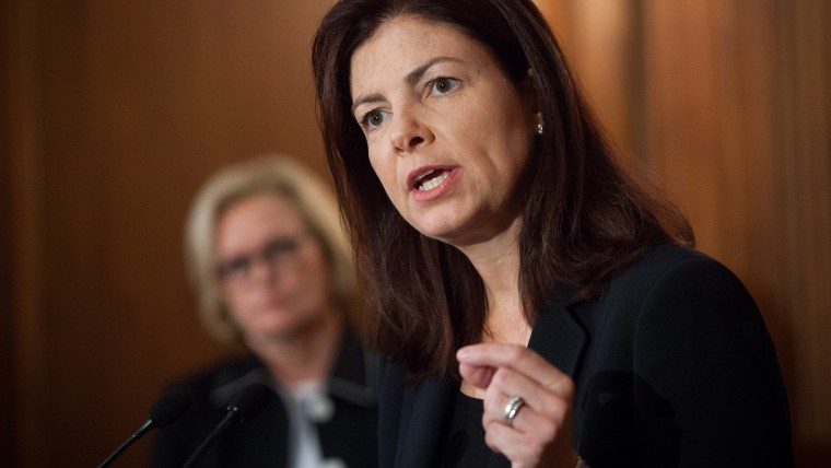 Sen. Kelly Ayotte (R-NH) speaks at a news conference July 25, 2013 on Capitol Hill in Washington, D.C. (Photo by Allison Shelley/Getty)