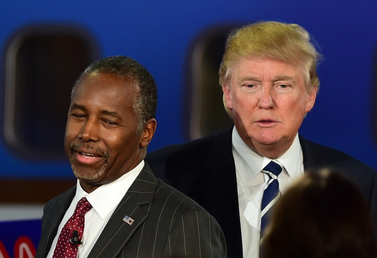 Republican presidential hopefuls Ben Carson and Donald Trump participate in the Republican Presidential Debate at the Ronald Reagan Presidential Library in Simi Valley, Calif., Sept. 16, 2015. (Photo by Frederic J. BrownAFP/Getty)
