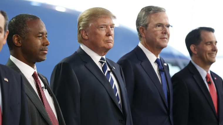Republican U.S. presidential candidates pose for a group photo before the start of the second official Republican presidential candidates debate in Simi Valley, Calif. on Sept. 16, 2015. (Photo by Mario Anzuoni/Reuters)
