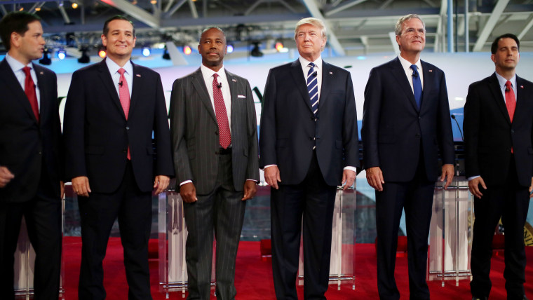 Republican presidential candidates stand onstage during the presidential debates at the Reagan Library on Sept. 16, 2015 in Simi Valley, Calif. (Photo by Sandy Huffaker/Getty)