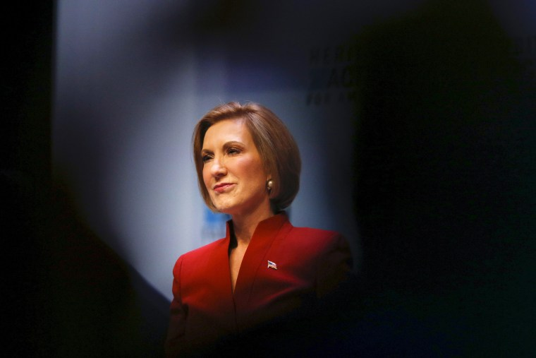 U.S. Republican presidential candidate and former CEO Carly Fiorina pauses while speaking during the Heritage Action for America presidential candidate forum in Greenville, S.C. on Sept. 18, 2015. (Photo by Chris Keane/Reuters)