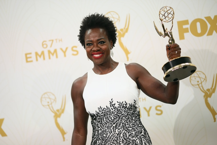 Actress Viola Davis, winner of the award for Outstanding Lead Actress in a Drama Series for 'How to Get Away With Murder', poses in the press room at the 67th Annual Primetime Emmy Awards on Sept. 20, 2015 in Los Angeles, Calif.(Photo by Mark Davis/Getty)