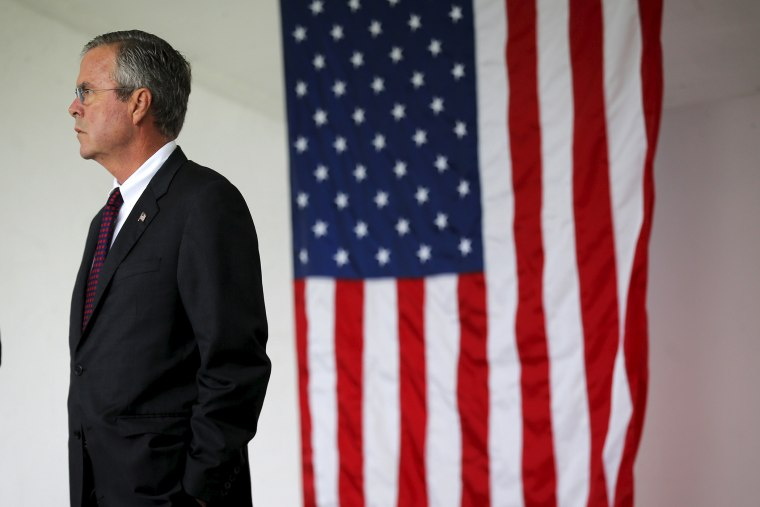 U.S. Republican presidential candidate Jeb Bush waits to take part in ceremonies to remember the victims of the September 11, 2001 attacks in Londonderry, N.H., Sept. 11, 2015. (Photo by Brian Snyder/Reuters)