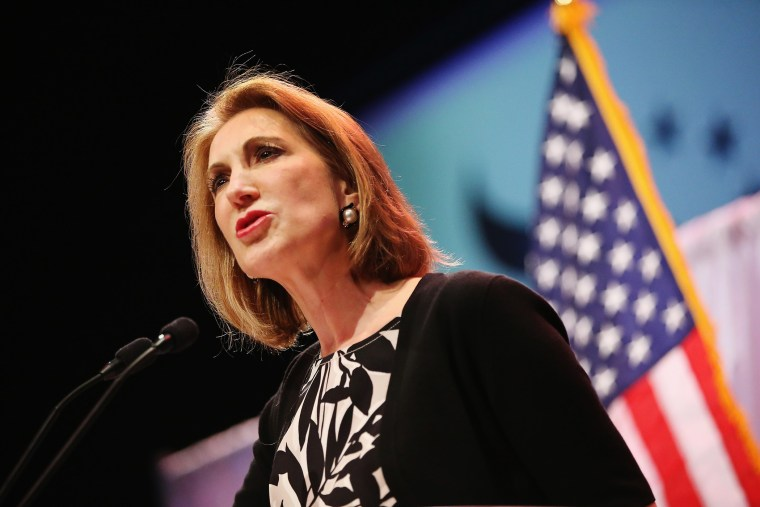 Former business executive Carly Fiorina speaks to guests gathered at the Point of Grace Church on April 25, 2015 in Waukee, Iowa. (Photo by Scott Olson/Getty)