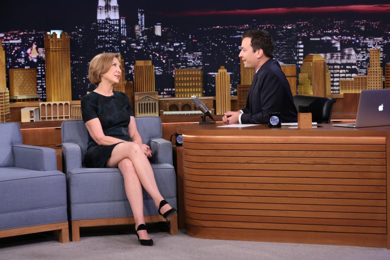 Politician Carly Fiorina speaks with host Jimmy Fallon on the set of the Tonight Show, Sept. 21, 2015. (Photo by Douglas Gorenstein/NBC)