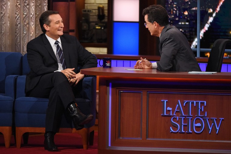 Senator and Republican presidential candidate Ted Cruz speaks with Stephen Colbert on The Late Show, Sept. 21, 2015. (Jeffrey R. Staab/CBS via AP)