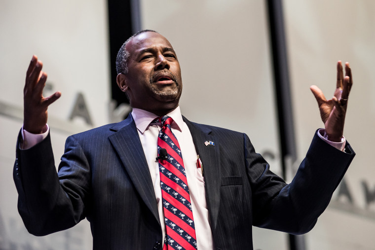 Republican presidential hopeful Ben Carson speaks to the crowd at the Heritage Action Presidential Candidate Forum Sept. 18, 2015 in Greenville, S.C. (Photo by Sean Rayford/Getty)