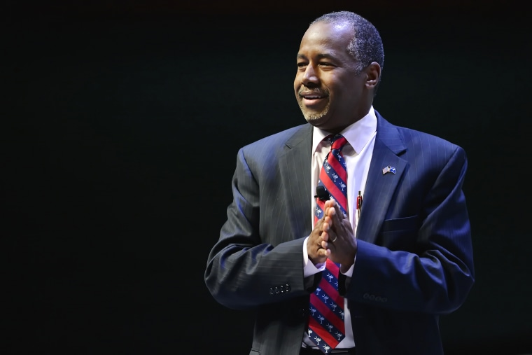 Republican presidential candidate Ben Carson speaks at a presidential forum sponsored by Heritage Action at the Bon Secours Wellness Arena, Friday, Sept. 18, 2015, in Greenville, S.C. (Photo by Richard Shiro/AP)