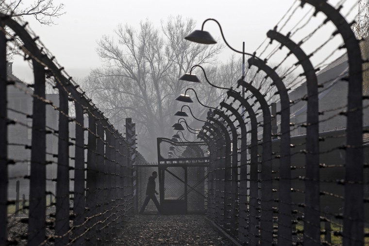 A visitor walks between electric barbed-wired fences at the Auschwitz-Birkenau memorial and former concentration camp Nov. 18, 2013. (Photo by Kacper Pempel/Reuters)