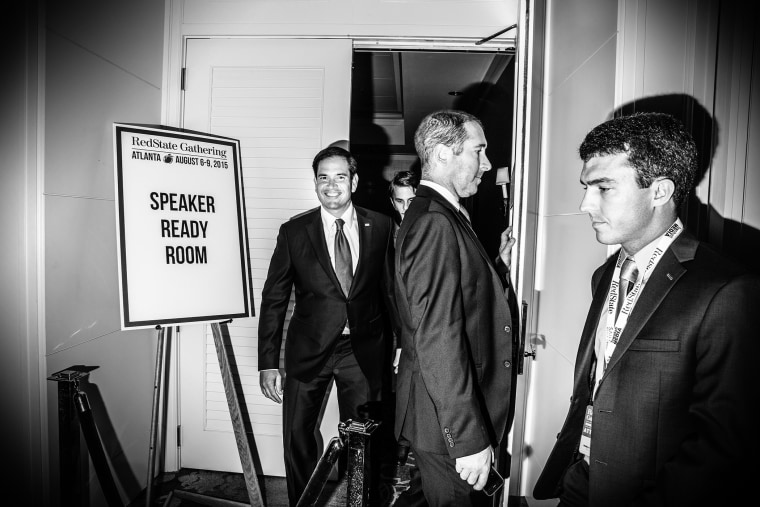 Sen. Marco Rubio leaves the green room at the RedState Gathering in Atlanta, Ga., Aug. 7, 2015.