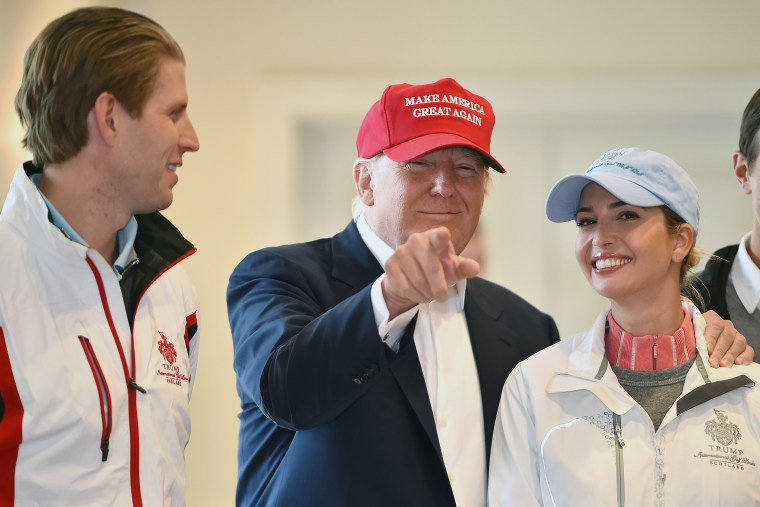 Republican Presidential Candidate Donald Trump visits his Scottish golf course Turnberry with his children Ivanka Trump and Eric Trump on July 30, 2015 in Ayr, Scotland. (Photo by Jeff J Mitchell/Getty)