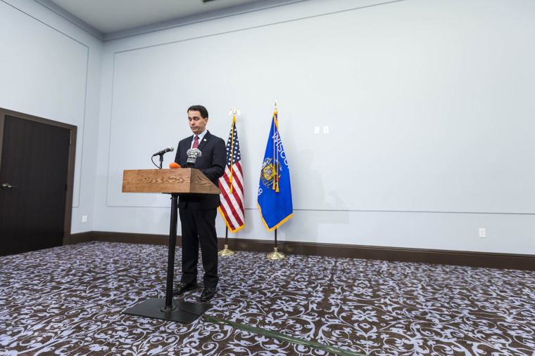 Wisconsin Gov. Scott Walker announces that he will end his bid for the White House at a news conference Sept. 21, 2015 in Madison, Wisconsin. (Photo by Andy Manis/Getty)