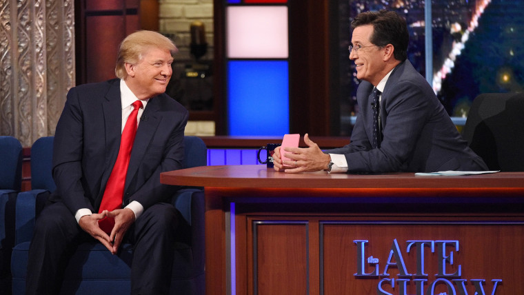 Donald Trump talks about his US Presidential campaign on The Late Show with Stephen Colbert, Sept. 22, 2015. (Photo by Jeffrey R. Staab/CBS)