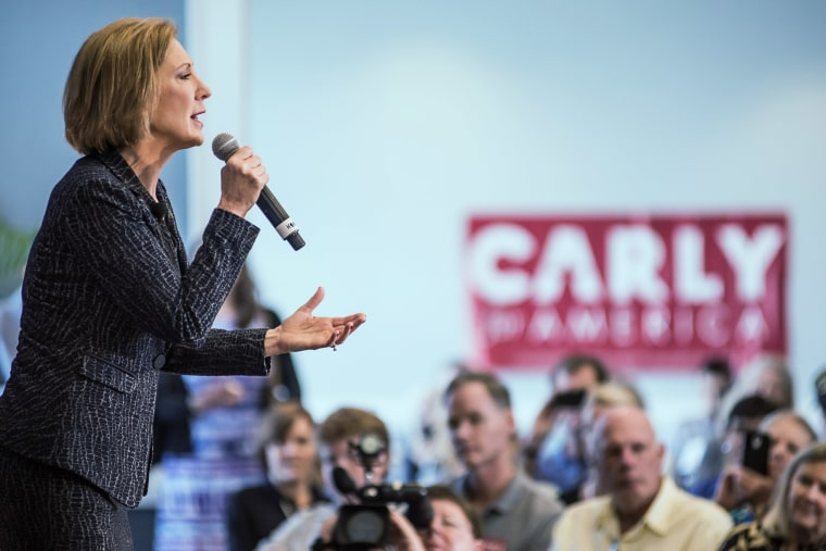 Republican presidential candidate Carly Fiorina speaks during a national security forum at The Citadel Sept. 22, 2015 in Charleston, S.C. (Photo by Sean Rayford/Getty)