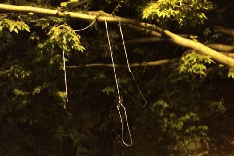 Nooses found hanging outside Mitchell Hall on the University of Delaware campus are being investigated as a hate crime. (Photo by Matt Butler/The Review)