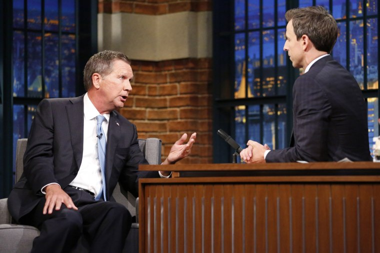 Governor John Kasich during an interview with host Seth Meyres on Sept. 22, 2015. (Photo by Lloyd Bishop/NBC/NBCU Photo Bank/Getty)