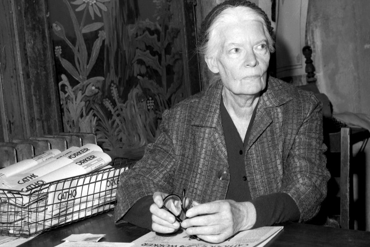 Dorothy Day, head of Catholic Worker, inside the worker office at 175 Christie St. (Photo by Judd Mehlman/NY Daily News/Getty)