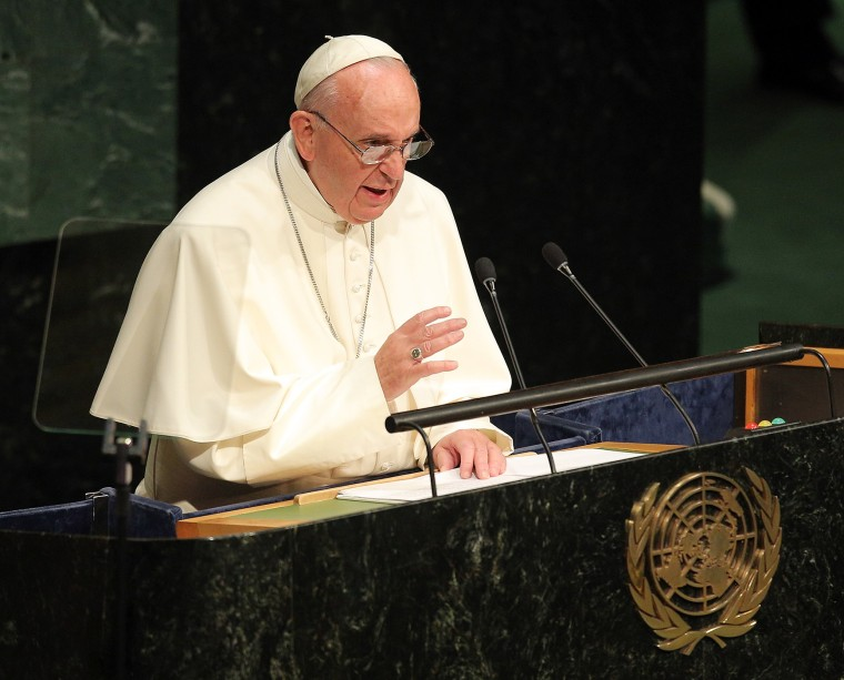 Pope Francis addresses the United Nations General Assembly on Sept. 25, 2015 in New York City. (Photo by Jemal Countess/FilmMagic/Getty)