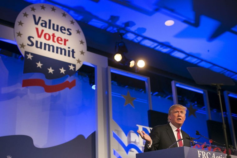 Republican presidential candidate Donald Trump speaks at the Values Voters Summit at the Omni Shoreham hotel in Washington D.C., Sept. 25, 2015. (Photo By Al Drago/CQ Roll Call/Getty)