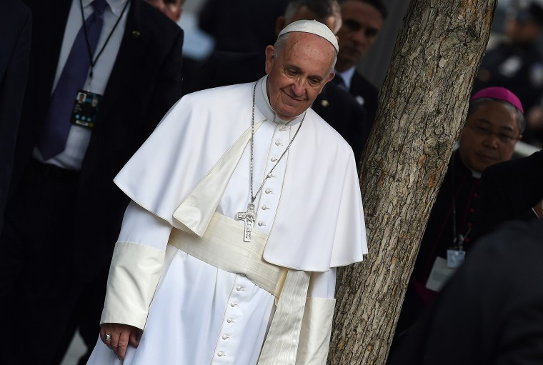 Pope Francis arrives at the 9/11 memorial in New York, Sept. 25, 2015. (Photo by Jewel Samad/AFP/Getty)