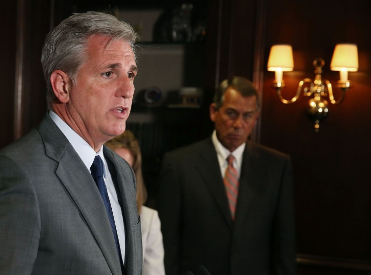 House Majority Leader Kevin McCarthy (R-CA) (L) speaks while flanked by House Speaker John Boehner (R-OH) during a news conference at GOP headquarters on Capitol Hill, July 22, 2015. (Photo by Mark Wilson/Getty)