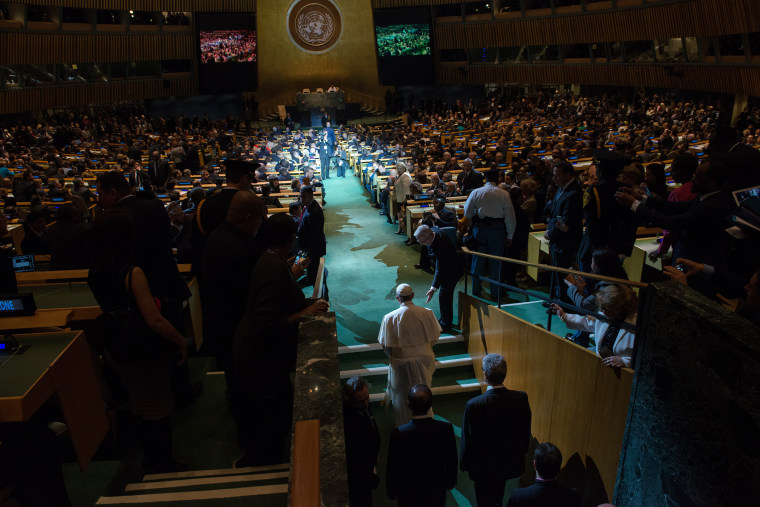 Pope Francis enters the General Assembly of the United Nations on Sept. 25, 2015 in New York City. (Photo by Bryan Thomas/Getty)