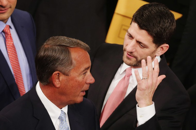 Speaker of the House John Boehner talks with Rep. Paul Ryan in the House of Representatives chamber at the U.S. Capitol Jan. 6, 2015 in Washington, DC. (Photo by Chip Somodevilla/Getty)