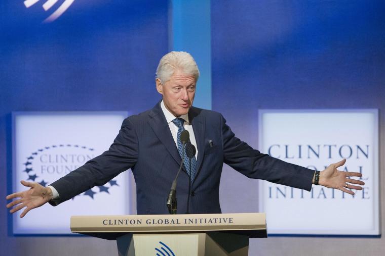 Former President Bill Clinton speaks at the Clinton Global Initiative, Sept. 27, 2015 in New York. (Photo by Mark Lennihan/AP)