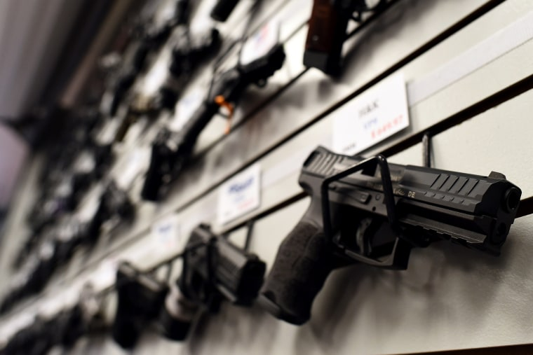Handguns are displayed a firing range in St. Peters, Mo. on Nov. 26, 2014.  (Photo by Jewel Samad/AFP/Getty)