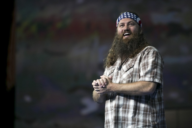 Duck Commander CEO and star of the reality television series Duck Dynasty, Willie Robertson speaks at an event in Fayetteville, Ark., on June 5, 2013.  (Photo by Gareth Patterson/AP)