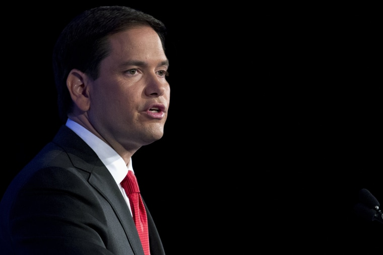 Republican presidential candidate Sen. Marco Rubio, R-Fla., speaks during the Values Voter Summit, held by the Family Research Council Action, Sept. 25, 2015, in Washington, D.C. (Photo by Jose Luis Magana/AP)