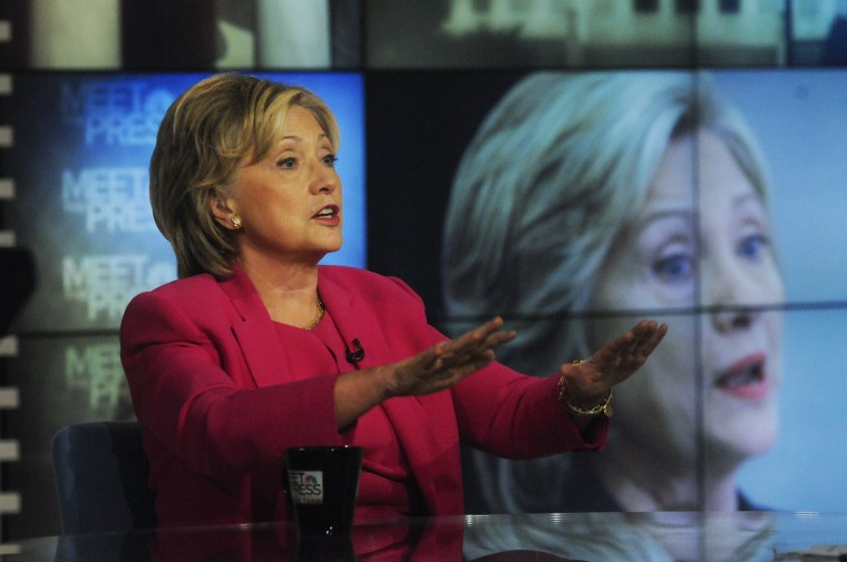 """Democratic presidential candidate and former Secretary of State Hillary Clinton appears on """"Meet the Press"""" in Washington, D.C., Sept. 27, 2015. (Photo by William B. Plowman/NBC/NBC NewsWire/Getty)"""