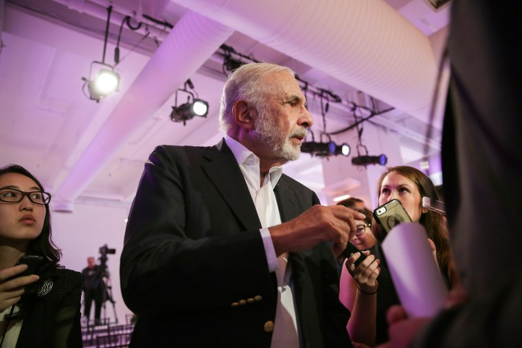 Businessman and investor Carl Icahn is pictured at a news conference in New York, N.Y., Sept. 16, 2015. (Photo by Stephen Yang/The New York Times/Redux)