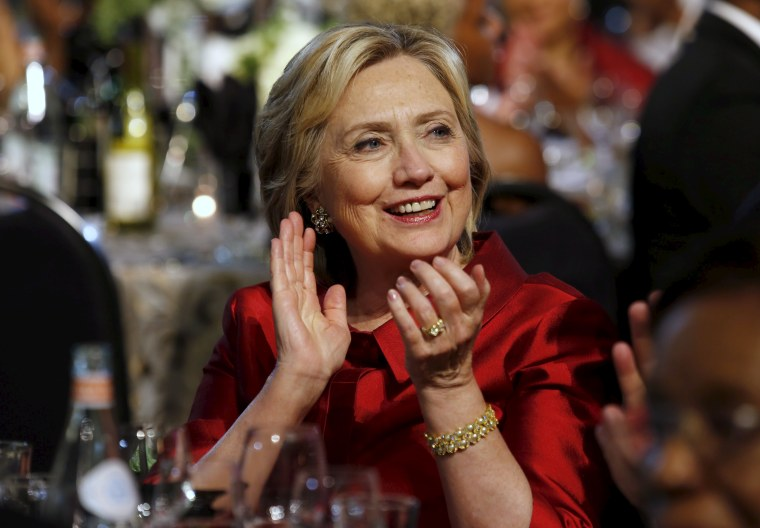 U.S. Democratic presidential candidate Hillary Clinton attends the Congressional Black Caucus Foundation's 45th Annual Legislative Conference Phoenix Awards Dinner in Washington, DC. Sept. 19, 2015. (Photo by Yuri Gripas/Reuters)