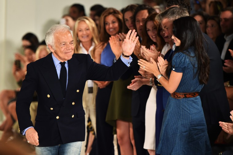Ralph Lauren waves to adoring fans at Ralph Lauren Spring 2016 during New York Fashion Week on Sept. 17, 2015 in New York City. (Photo by Mike Coppola/Getty)