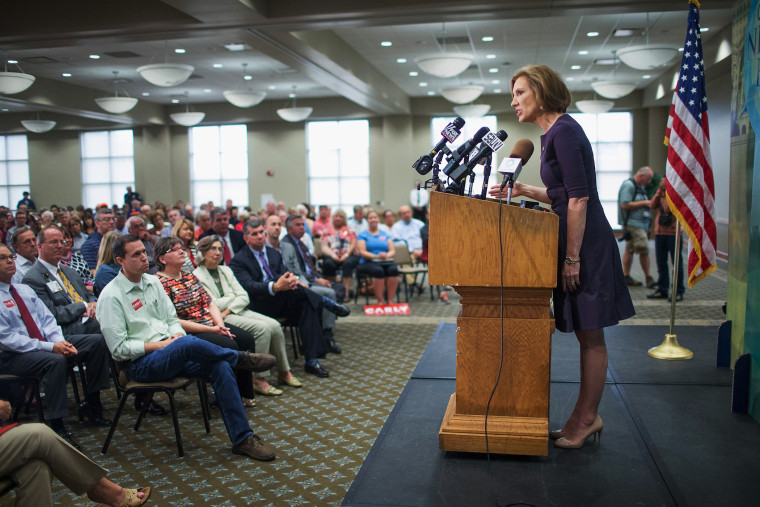 Republican presidential candidate Carly Fiorina addresses the Quad Cities New Ideas Forum at St. Ambrose University on Sept. 25, 2015 in Davenport, Iowa. (Photo by Scott Olson/Getty)