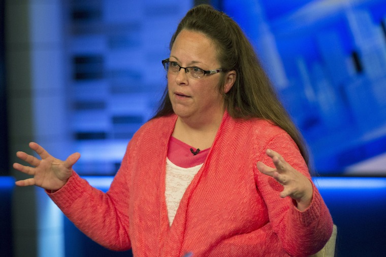 Kentucky county clerk Kim Davis speaks during an interview on Fox News Channel's 'The Kelly File' in New York on Sept. 23, 2015. (Photo by Brendan McDermid/Reuters)