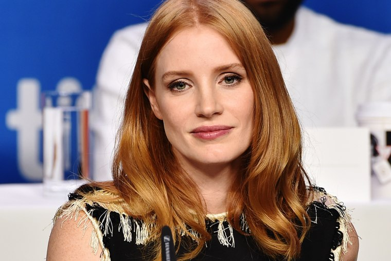 """Actress Jessica Chastain speaks onstage during the """"The Martian"""" press conference at the 2015 Toronto International Film Festival at TIFF Bell Lightbox on Sept. 11, 2015 in Toronto, Canada. (Photo by Kevin Winter/Getty)"""