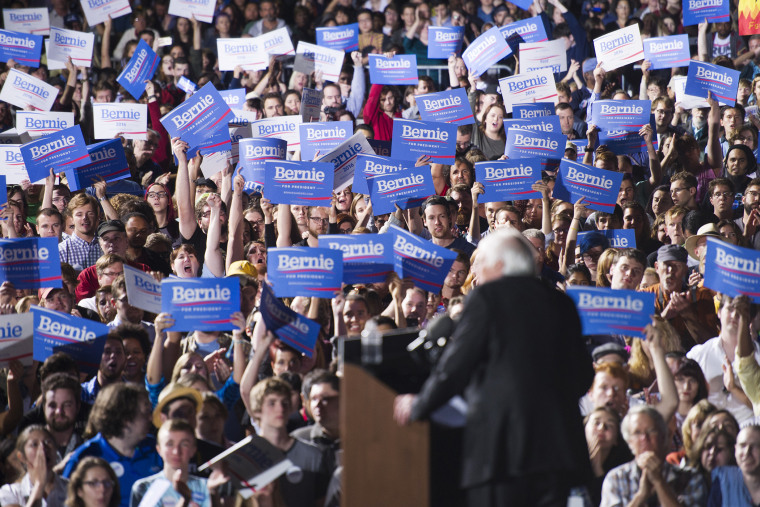 Democratic presidential candidate, Sen. Bernie Sanders speaks to supporters during a campaign rally at Prince William Fairground in Manassas, Va., Sept. 14, 2015. (Photo by Cliff Owen/AP)
