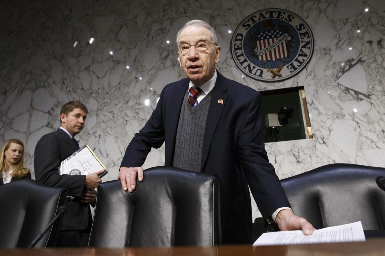 In this Jan. 29, 2015 file photo, Senate Judiciary Committee Chairman Sen. Charles Grassley, R-Iowa is seen on Capitol Hill in Washington, DC. (Photo by J. Scott Applewhite/File/AP)
