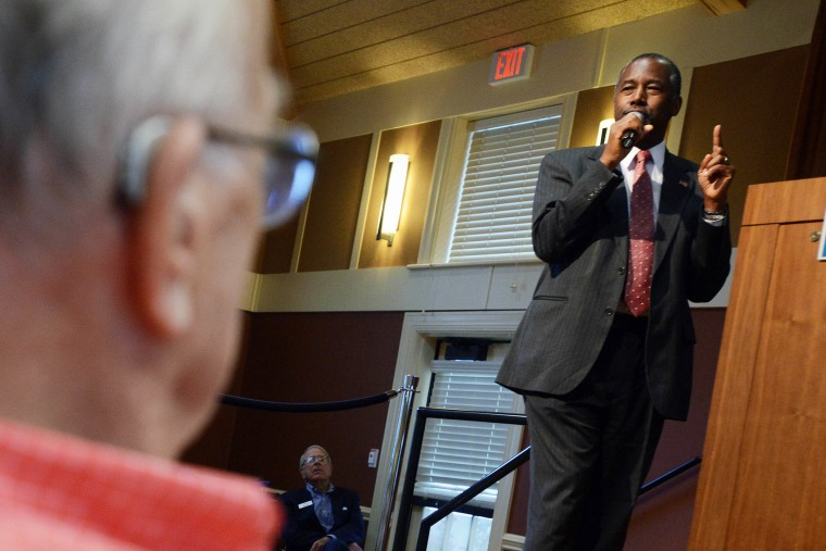 Republican presidential candidate Ben Carson speaks during a town hall event at River Woods Sept. 30, 2015 in Exeter, NH. (Photo by Darren McCollester/Getty)