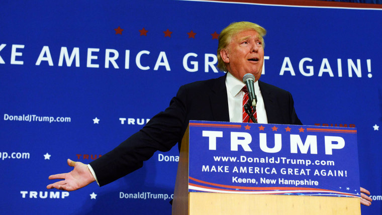 Republican Presidential candidate Donald Trump speaks during a town hall event at Keene High School Sept. 30, 2015 in Keene, NH. (Photo by Darren McCollester/Getty)