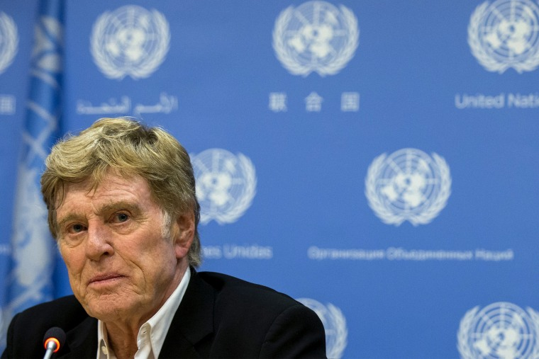 Actor and activist Robert Redford speaks during a news conference following his address to a high-level United Nations meeting on climate change at the United Nations headquarters in New York June 29, 2015. (Photo by Brendan McDermid/Reuters)
