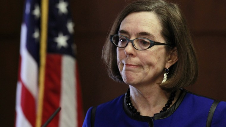 Oregon Governor Kate Brown speaks at the state capital building in Salem, Oregon, Feb. 20, 2015. (Photo by Steve Dipaola/Reuters)