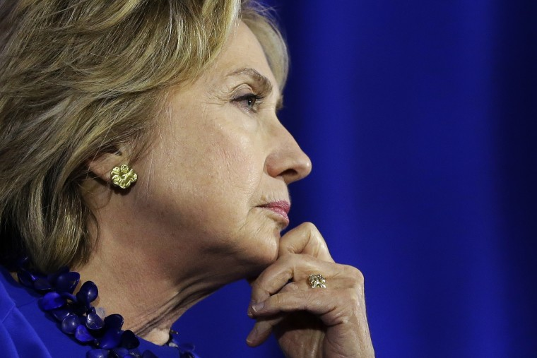 Democratic presidential candidate Hillary Rodham Clinton listens during a forum on substance abuse, Oct. 1, 2015, in Boston, Mass. (Photo by Steven Senne/AP)