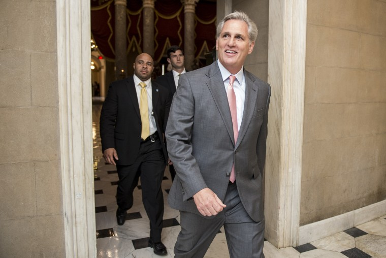 House Majority Leader Kevin McCarthy, R-Calif., leaves the House chamber following a vote on Sept. 30, 2015. (Photo By Bill Clark/CQ Roll Call/AP)